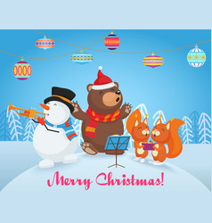 happy christmas card with cute bear vector image