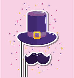 hat and moustache to happy birthday event vector image