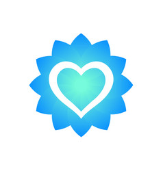 heart outline with flower shape logo element vector image