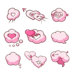 Heart Shaped Cloud Set vector