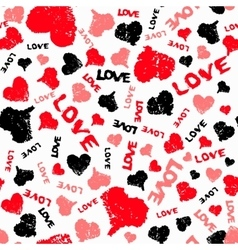 Hearts valentine background with painted love word vector