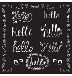 Hello in different style set Hand drawn design vector image