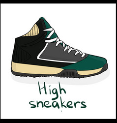 high sneakers vector image