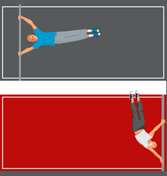 Horizontal bar chin-up strong athlete man cards vector