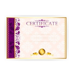 Horizontal certificate with a laurel wreath vector image