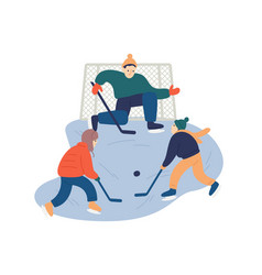 kids playing hockey flat vector image