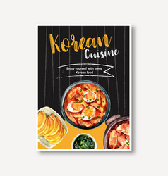 Korean food poster design with tteokbokki egg vector