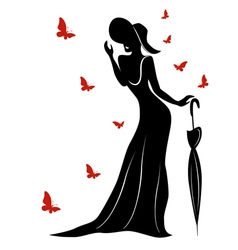 Lady in long gown and hat with umbrella vector