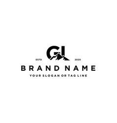 Letter gi mountain logo design vector