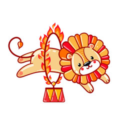 Lion jumping through a flaming ring vector