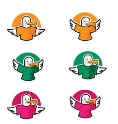 Logo icon birds wear t-shirt vector