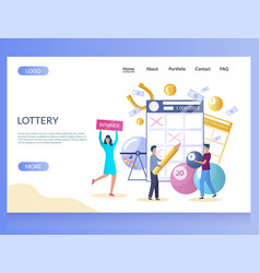 lottery website landing page design vector image