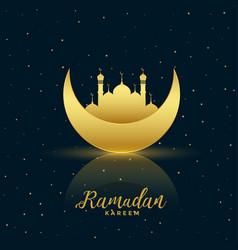 Lovely golden moon and mosque ramadan kareem vector