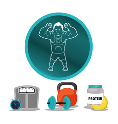 man muscle protein sport dumbbell vector image