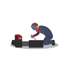 man welds metal with welding machine worker in vector image