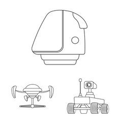 mars and space icon set of vector image