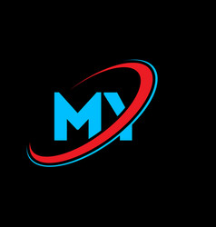 my m y letter logo design initial letter my vector image