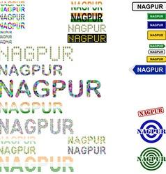 Nagpur text design set vector