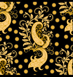 ornate seamless golden floral pattern vector image
