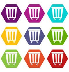 outdoor plastic trash can icon set color vector image