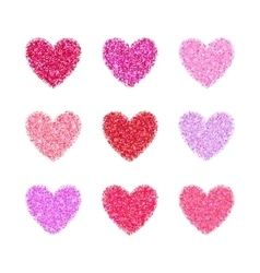 Pink glitter valentine day heart shape vector image