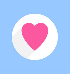 pink heart with shadow in white circle on blue vector image