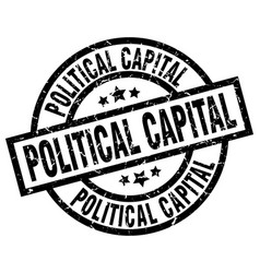 political capital round grunge black stamp vector image