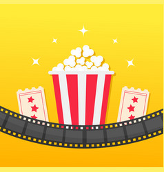 popcorn box film strip rounded two tickets admit vector image