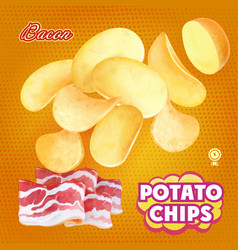 Potato chips advertising bacon flavor vector