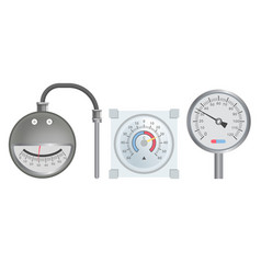 Pressure scale or thermometer heating system dial vector