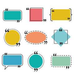 quote box and speech bubble templates set vector image