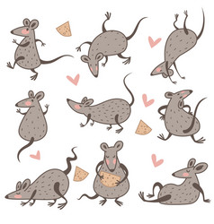 rat with cheese chinese new year symbol isolated vector image