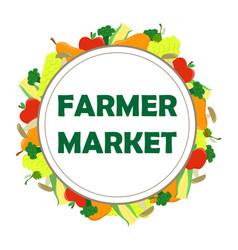 round poster for the farmer market with seasonal vector image
