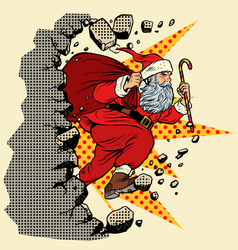 santa claus with christmas gifts breaks wall vector image