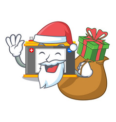 Santa with gift miniature accomulator in the a vector