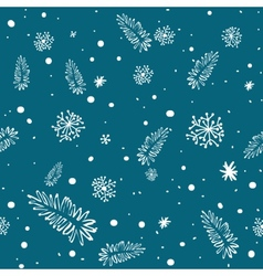 seamless doodle with snowflakes and branches vector image