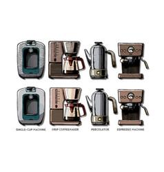 Set coffee machines vector
