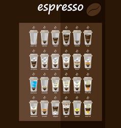 set coffee types menu vector image