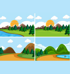 set flat nature scene vector image