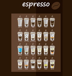 Set of coffee types menu vector