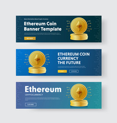 Set of horizontal banners with a pile of gold vector