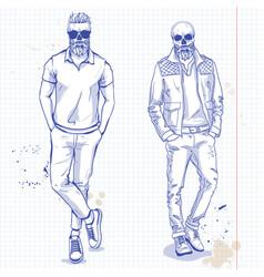 set two men with skull beard vector image