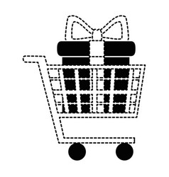 Shopping cart with giftbox vector