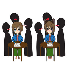 short hair girl with cat ears crying was bullied vector image