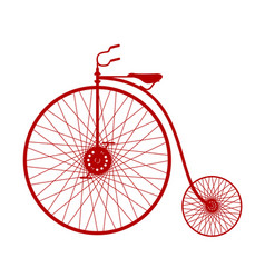 Silhouette of vintage bicycle in red design vector