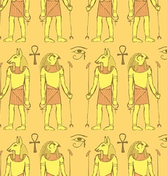 Sketch Egyptian gods in vintage style vector