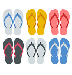 Slippers set of female with multicolored vector