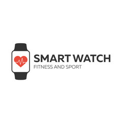 Smart watch logo for fitness and sport vector