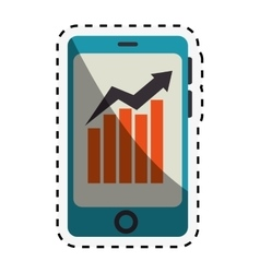 smartphone device with finance app isolated icon vector image