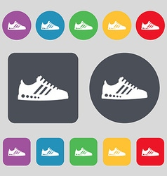 Sneakers icon sign A set of 12 colored buttons vector image